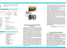 Feuillet Poste FDC 2249 2250 Folklore Procession Des Pénitents Furnes Jeu De Jean Et Alice Wavre - Cartas