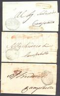 1844/47 PREFILATELIA 3 LETTERE GIRGENTI REAL SERVIZIO INTENDENZA DELLA PROVINCIA - 1. ...-1850 Prephilately