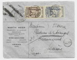 COTE D'IVOIRE 2FR+5FR LETTRE COVER BOBO  DIOULASSO 17 SEPT 1940 + VERSO 50C AVION SUISSE CENSURE - Briefe U. Dokumente
