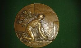 1928, Arthur Dupon, Inhuldiging Kruisschanssluis Door Koning Albert En Koningin Elisabeth, 272 Gram (med303) - Elongated Coins