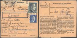Germany - WWII, Luxembourg. Paketkarte, Parcel Post Waybill. Düdelingen (Dudelange) 30.6.1942 - Wilferdingen - Ocupación 1938 – 45