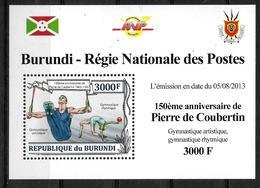 BURUNDI   Epreuve Luxe  N° 2053  * *   Coubertin Gymnastique Anneaux Danse - Gymnastiek