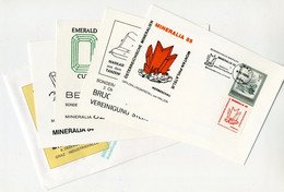 Austria Osterreich - Selection 4 Cards + 1 Cover 1982-1985 Mineralia Crystals - Minerals