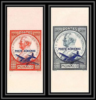 85281/ Monaco PA Poste Aerienne N°13 / 14 Prince Louis 2 Non Dentelé ** MNH (Imperforate) 1946 - Airmail