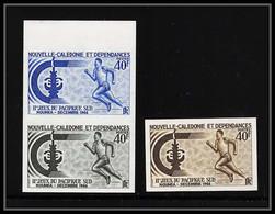 85456 N°334 X3 Dont Paire Course Running Jeux Pacifique Sud 1966 Nouvelle Calédonie Essai Color Proof Non Dentelé Imperf - Non Dentellati, Prove E Varietà