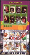 "{FG0172}  LABEL Pope John Paul II Music Rock Band "" The Beatles "" 2 Sheets Used / CTO Cinderella ! - Fantasie Vignetten"