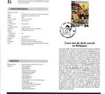 Feuillet Poste FDC 2263 Cent Ans De Droit Social En Belgique Strépy-Bracquegnies - Cartas