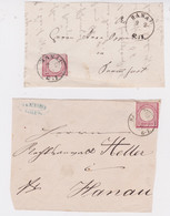 Germany-1872-74 1 Gr Rose Type II Shield On Two Hanau, One Cassel And One Bergen Letter Fronts - Storia Postale