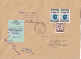 Enveloppe Recommandé Timbres Douane Griffe Bruxelles 1 Service Des Collectionneurs Baudouin Lunettes - Cartas
