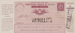 Cartolina Vaglia Annullato - Entero Postal