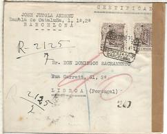 BARCELONA A PORTUGAL CC CERTIFICADA 1944 MILENARIO DE CASTILLA  CON CENSURAS - 1931-50 Cartas