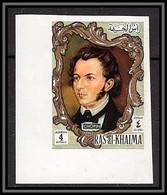 Ras Al Khaima - 602 N° 591 B Frédéric Chopin Musique (music) Non Dentelé (imperf) Coin De Feuille - Music