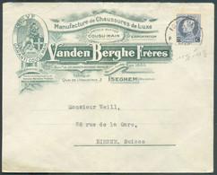 75 Centimes Petit Montenez, Dt. 11½x12½ Obl. Sc ISEGHEM Sur Enveloppe Illustrée (Manufacture De Chaussures De Luxe Cousu - 1921-1925 Petit Montenez