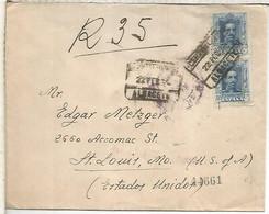 ALBACETE 1924 A USA CC CERTIFICADA ALFONSO XIII VAQUER  CON LLEGADAS - Briefe U. Dokumente