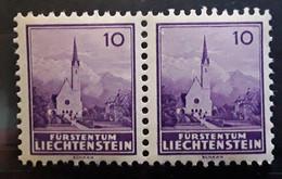 LIECHTENSTEIN, 1935, PAIRE / PAIR, Yvert N° 125 , Eglise De Schana, 10 R Violet, Neuf **, TB - Unused Stamps