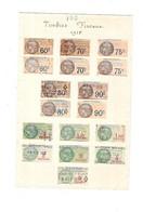 Feuille De 17 Timbres Fiscaux De 1925 - Revenue Stamps