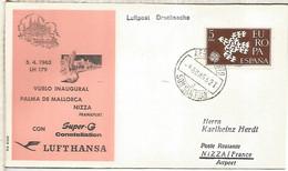 BALEARES CC MAT AEROPUERTO SON SAN JUAN PRIMER VUELO PALMA NIZA NICE CON LLEGADA 1963 - Cartas