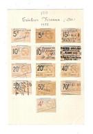 Feuille De 13 Timbres Fiscaux De 1922 - Revenue Stamps