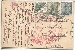 MADRID VUELO ESPECIAL A SUIZA IMABA 1948 MARCA ESPECIAL SELLOS FRANCO DE PERFIL - Cartas