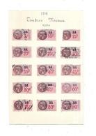 Feuille De 15 Timbres Fiscaux De 1936 - Revenue Stamps