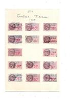 Feuille De 14 Timbres Fiscaux De 1935 - Revenue Stamps