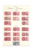 Feuille De 8 Timbres Fiscaux De 1935 Et  10 Timbres De 1936 - Revenue Stamps