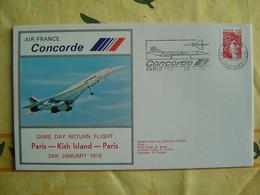 CONCORDE F-BVFC -- Vol Paris -- Kish Island (Iran) -- Paris Le 24 Janvier 1978 -- 1 Pli + Certificat - Sonstige