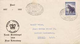 South Africa Sonderstempel Philatelic Exhibition PAARL 1957 Cover Brief ROSTOCK DDR Hippo Hippoportamus Flusspferd - Briefe U. Dokumente
