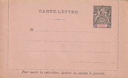 *** Golfe De Benin 1893 Entier Sur Carte Lettre 25 Centimes Noir/rose Neuf Mais Fermé - Benin