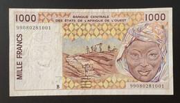 MH0225 - West African States BENIN 1999 1000 Francs Banknote 1999 P.211Bj #B 99080281001 - Benin