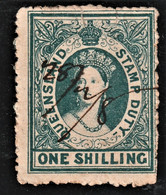 Rare Timbre  Queensland Stamp Duty One Shilling Avec Date à La Plume - Gebraucht