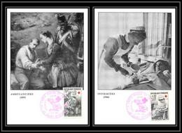 2051/ Carte Maximum (card) France N°1508/1509 Croix Rouge (red Cross) 1966 Infirmière /Ambulancière St Etienne - 1960-69