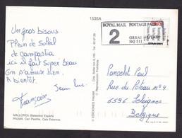 Spain: Picture Postcard Mallorca To Belgium, 2001, 1 Stamp / Label Pre-Paid Ticket, Private Postal Service TNT (damaged) - 1991-00 Cartas