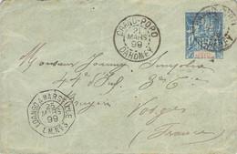DAHOMEY Superbe Enveloppe Entier Postal 15 Cts Golfe Du Bénin Obl. Grand-Popo + Loango à Marseille N°3 1899 - Lettres & Documents