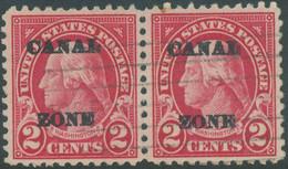 CANAL ZONE 1924 Washington 2 C Gest. Wg. Paar, ABART: Selt. DOPPELAUFDRUCK - Panamá