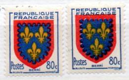 FRANCE N° 959 80C JAUNE BLEU ET ROUGE BLASON DU BERRI 2 NUANCES DIFFERENTES NEUF SANS CHARNIERE - Curiosités: 1950-59 Neufs