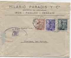 Carta De Irún A Suiza Matasellos Ambulante - 1931-50 Cartas