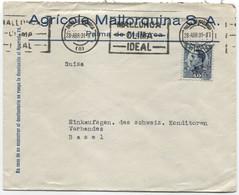 1931 Carta De Palma De Mallorca A Basilea Rodillo Bien Estampado - Briefe U. Dokumente