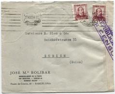 1936, Agosto Carta De Barcelona A Zurich Censurada - 1931-50 Cartas