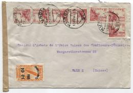 1940 Carta De Murcia A Suiza Con Benéfico Zeppelin - 1931-50 Cartas