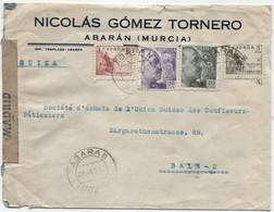 1942 Carta De Abaran (Murcia) A Suiza Censurada - 1931-50 Cartas