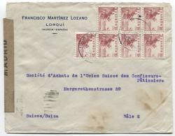 1943 Carta De Lorquí (Murcia) A Suiza Censurada - 1931-50 Cartas
