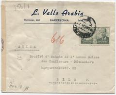 1943 Carta Aérea De Barcelona A Suiza, Censurada - 1931-50 Cartas