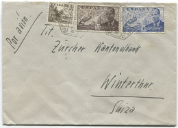 1947 Carta Aérea De Madrid A Suiza, Raro Matasellos Aéreo Ministerio De Gobernación - 1931-50 Cartas