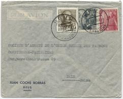 1949 Carta Aérea De Reus A Suiza - 1931-50 Cartas