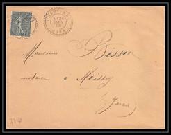 4561 France Lettre N°130 Semeuse 20/1/1905 Champvans Pour Moissey Jura 20/1/1905 - 1877-1920: Semi-moderne Periode