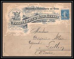 7382 Enveloppe Illustree Bonneterie Passet Richard 1916 La Roche-sur-Foron Haute Savoie Lullin Semeuse Lettre TB Etat - 1877-1920: Semi-moderne Periode