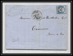 8906 LAC Entete Bulliot 1874 N 60B Type 2 Ceres 25c GC 246 Autun Saone Et Loire Tournus Lettre - 1849-1876: Classic Period