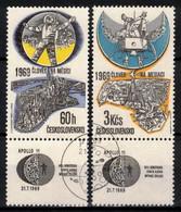 Tchécoslovaquie 1969 Mi 1888-9 Zf (Yv 1735+PA 71 Avec Vignettes), Obliteré, - Usados