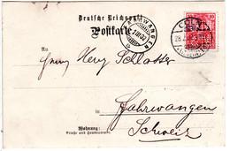 DR 1902, 10 Pf. Germania M. Perfin Firmenlochung JM&M Auf Firmen Karte V. Köln - Non Classificati